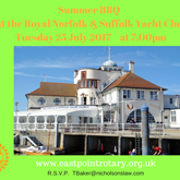 Rotary Club of Lowestoft East Point Summer BBQ - Royal Norfolk & Suffolk Yacht Club at 7.00pm on Tuesday 25 July 2017