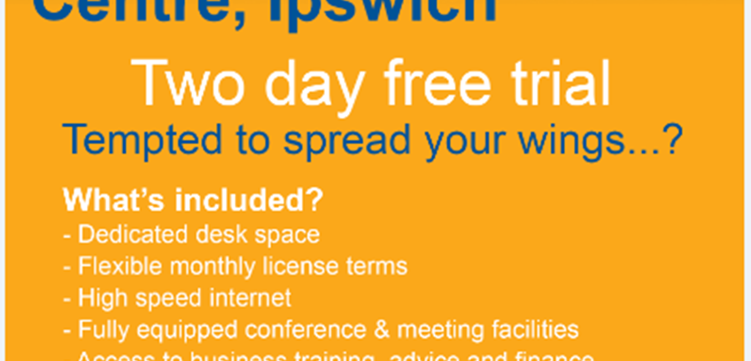 Co-working two day free trial at Suffolk Enterprise Centre, Ipswich, IP2 8SJ
